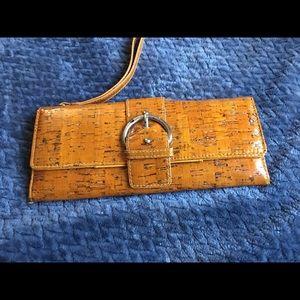 Handbags - Orange Wood grain- textured Wallet